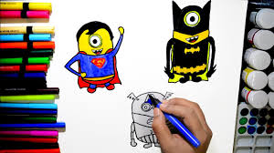 Draw And Color Minion Superheroes Batman Superman Captain America Coloring Page For Kids