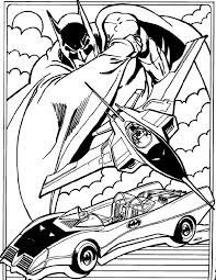 Batmobile And Bat Plane Batman Coloring Page