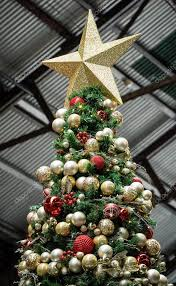 Artificial Christmas Tree With Red And Gold Balls Star Stock Photo