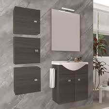 badezimmer badmöbel 55 cm aus eiche dunkel holz mit keramik waschtisch dunkle eiche standard 55 cm