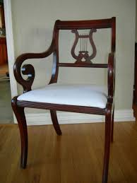 Lyre Back Chairs Antique by Duncan Phyfe Pedistal Mahogany Table 6 Lyre Back Chairs Antique