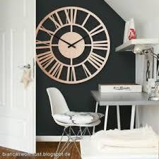 details zu wanduhr alu dibond uhr mit uhrwerk kupfereffekt wohnzimmer 70 cm deko modern
