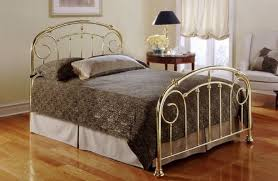 Lillian Lustre Brass Gold Finish Queen Size Metal Bed Queen Bed