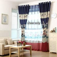 Sheer Curtain Panels 96 Inches by Pureaqu Rod Pocket Process Blue Tulle Window Treatments Sheer