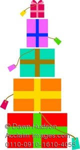 Clipart Illustration of a Pile of Christmas or Birthday Presents