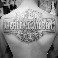 Mens Upper Back Logo Harley Davidson Tattoos Men