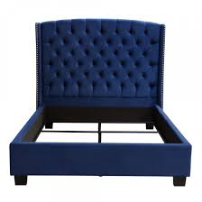 Blue Velvet King Headboard by Majestic Eastern King Tufted Bed In Royal Navy Velvet