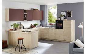 modernes küchen u ka 42 150 40 100 in asteiche natur nachbildung und hennarot matt