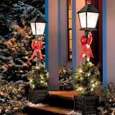 Pre Lit Porch Christmas Trees by 4 U0027 Lighted Victorian Lamp Post W Greenery Pre Lit Outdoor