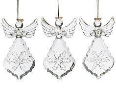 EMBOSSED GLASS ANGEL ORNAMENT SET