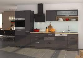 küchenblock mailand 330 cm mit apothekerauszug grau hochglanz ohne elektrogeräte