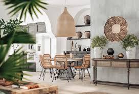 wohnen im ethno stil essbereich küche rattan metall holz