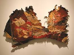 Whiskey Creek Autumn By Kate Harding 2007 Mixed Media With Found Leather