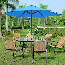 Patio Umbrella Canopy Replacement 6 Ribs 8ft by 8ft 6 Ribs Patio Wood Umbrella Wooden Pole Outdoor Garden Pool