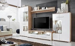 anbauwand wohnzimmer schrankwand möbelset wohnwand tv lowboard esszimmer schrankwand salvador wohnzimmer weiß eiche maße 320 x 194 x 47 cm