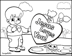 High Resolution Coloring Free Christian Pages For Kids Valentine Picture Children