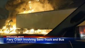 100 Truck Wrecks Caught On Tape 1 Injured In Truck Crash Fire On I294 At St Charles Road Near
