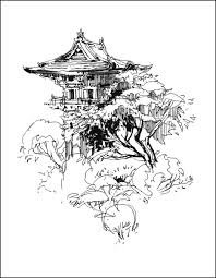 Holiday Coloring Pages Treehouse Ballpoint And Brushpen On Cover Stock