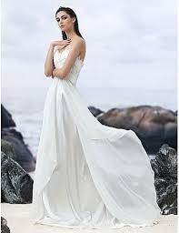 A Line Sweetheart Court Train Geor te Custom Wedding Dresses with