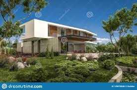 100 Summer Hill Garage 3d Rendering Of Modern House On The With Pool Stock