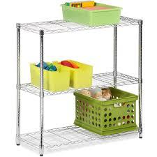 honey can do 3 shelf steel storage shelving unit chrome