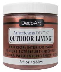 Americana Decor Chalky Finish Paint Colors by Decoart Americana Decor Outdoor Living Paint 8 Oz Metallic Rose