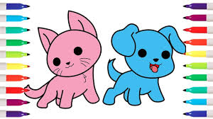 How To Draw Kawaii Cat Dog Coloring Pages For Kids