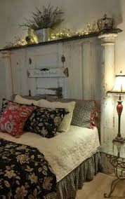 Shabby chic headboard You could make one similar to this using a