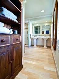wood look tile flooring inspiration for a contemporary bathroom