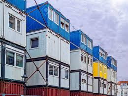 100 Cargo Houses Temporary Shelter For Workers Container Stock Photo