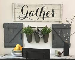 GATHER SIGN 4 Piece SET Rustic Gallery Wall Set Gather Sign