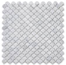 12 x12 carrara white mini fish scale fan shaped mosaic tile honed