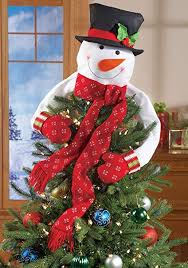 Collections Etc Christmas Snowman Top Of The Tree Hugger