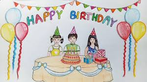How to draw scenery of birthday party step by step Farjana Drawing Academy