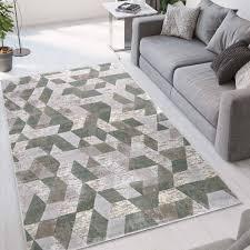 teppich grün grau modernes geometrisches design ver002