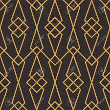 100 Art Deco Shape Seamless Luxury Geometric Pattern Golden Lined Shape