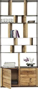 kare design regal 2 türig bücherregal mit fächern und türen aus massivholz für das wohnzimmer