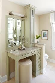 Single Sink Vanity With Makeup Table by Soft Grey Wood Bathroom Makeup Vanity Feat White Marble Countertop