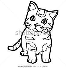 Cartoon Cat Coloring Page Vector