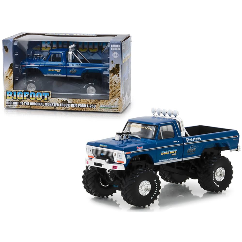Greenlight 1974 Ford F-250 Monster Truck Bigfoot #1 The Original Monster Truck Blue 1/43