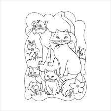 Cat Family Coloring Page