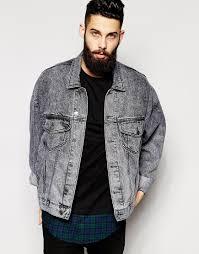 asos oversized denim jacket with acid wash in black for men lyst