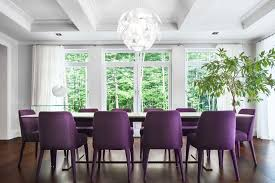 Long White Dining Room Table With Comfy Purple Chairs On Brown Laminate Wooden Floor Also Over Glass Pendant Lamp