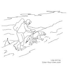 Search And Rescue Dog In Snowy Mountains Line Art