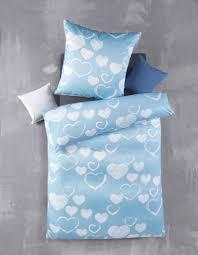 2tlg bettwäsche set bettgarnitur bett bettbezug 135x200 kissenbezug 80x80 modern schlafzimmer blau comic herze