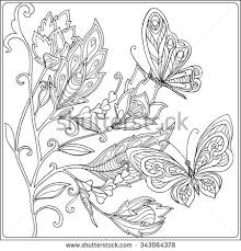 Coloring Book For Adult And Older Children Page With Decorative Vintage Flowers