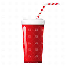 Fast food soda cup with stripy tube Royalty Free Vector Clip Art
