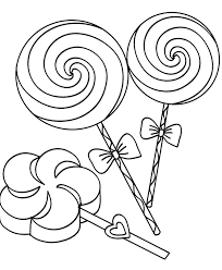 Three Lollipop Candy Coloring Page