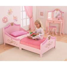 Cheap Bedroom with Pink Wooden Toddler Bed For Girls and Pink