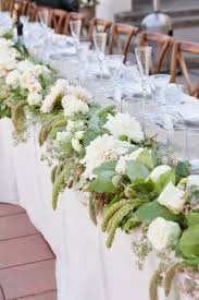 This Lush Green And White Garland Makes Quite A Statement Along The Front Of Head Table